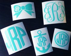Monogram Decal Sample Pack Vinyl Decal Sticker; 5 decals for $8!! Pinning to remember to order later!