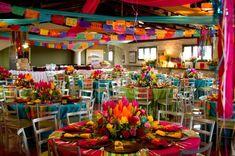 decoracion tradicional quinceanera | En ambas imágenes destaca el uso de diferentes colores para cada mesa ...