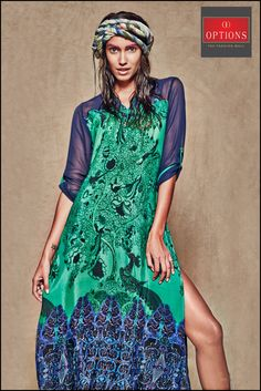 Check out this  peacock printed outfit with contrast colours. The bright green with vibrant blue colour is perfect for a casual day out.  #Shopping #Styling #Love #Fashion #Kurti  #Nice #Beautiful #Ravishing #Options #Andheri #Juhu