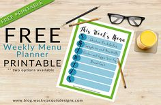 FREE Weekly Menu Pla