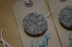 Wool Badges by Felicity Ford, sorry KNITSONIK  (I Hadn't realised she was on Etsy!) These badges are excellent gifts and come complete with a hand printed gift tag!