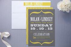 Minted slate and mustard wedding invitation