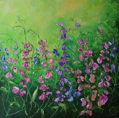 FineArtSeen - Summer Dance by Colette Baumback. This original abstract floral painting is full of colour and comes from the collection on FineArtSeen. Click to view more art at great prices from the Home Of Original Art. << Pin For Later >>