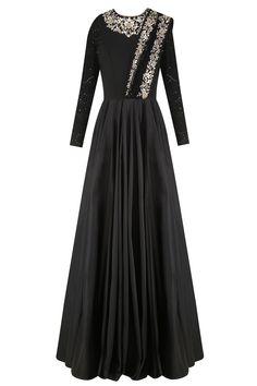 Black floral embroidered anarkali gown with attached dupatta available only at…