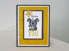 Stampin Up Kind Koala   B & B Color Challenge #51 Stamped dot background-Dotty Angles Photo-polymer stamp set p 98 2014-15 catalog.