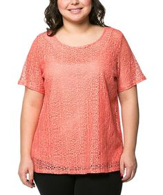 Another great find on #zulily! Essential Collection Coral Textured Scoop Neck Top - Plus by Essential Collection #zulilyfinds