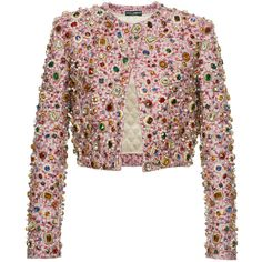 Dolce & Gabbana     Metallic Jacquard Jewel Cropped Jacket (99.775 BRL) ❤ liked on Polyvore featuring outerwear, jackets, pink, pink jacket, pink cropped jacket, dolce gabbana jacket, embellished jackets and cropped jacket