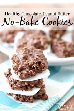 "These Healthy No-Bake Chocolate-Peanut Butter Cookies have lower sugar than their traditional, and even their ""healthy"" counterparts. I love how fudgey they are! desserts Healthy No-Bake Chocolate-Peanut Butter Cookies Mini Desserts, Healthy Chocolate Desserts, Healthy Sweets, Healthy Dessert Recipes, Healthy Baking, Easy Desserts, Gourmet Recipes, Baking Recipes, Delicious Desserts"