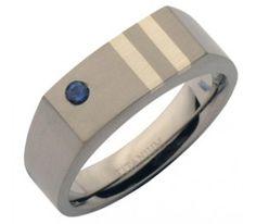 7mm Blue Sapphire Stone Set Titanium Signet Ring
