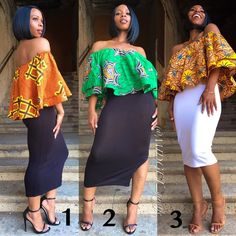 Which one fits your style ladies? African Blouses, African Tops, African Women, African Print Fashion, African Fashion Dresses, Ethnic Fashion, African Prints, African Outfits, African Attire