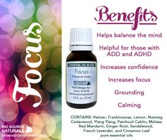 Focus essential oil blend helps to balance the mind. #aromatherapy
