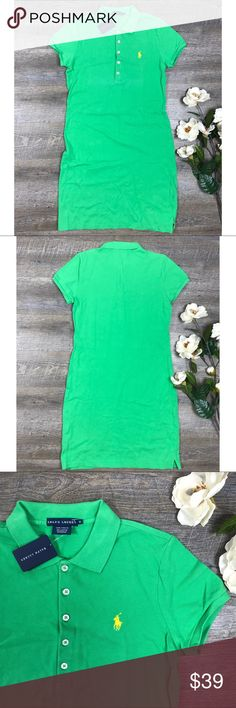 Ralph Lauren Tennis Dress New with tag green Ralph Lauren shirtdress! In excellent condition! 100% cotton. Size M (see images for measurements). A-4 Ralph Lauren Dresses