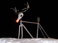 Rudolph, the Red-Nosed Reindeer made with all bike parts.
