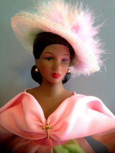African American doll Pink and Green Porcelain by Divineangelshop, $54.99