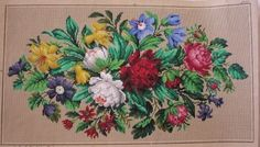 VERY PRETTY ANTIQUE HAND PAINTED BERLIN TAPESTRY PATTERN. ROSES AND LILIES. (E) | Antiques, Fabric/Textiles, Embroidery | eBay!
