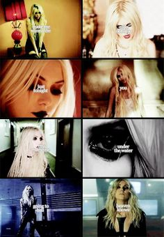 Taylor Momsen, of The Pretty Reckless. music video stills: (left to right) Make Me Wanna Die, Miss Nothing, Just Tonight, You, My Medicine, Under The Water, Going To Hell, Heaven Knows.
