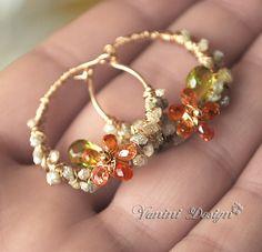 Sapphire and Diamond Hoop Earrings by VaniniDesign, via Flickr