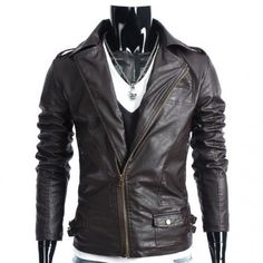 Brown Decent and Slim Leather Handmade Jacket for Men #menleatherjacket #leatherjacket #bikerleatherjacket