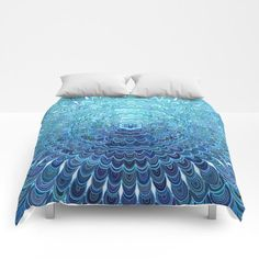 Frozen Oval Mandala Comforter by David Zydd #artwork #bedroomdecor #bed