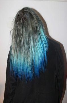 grey with blue dip dye
