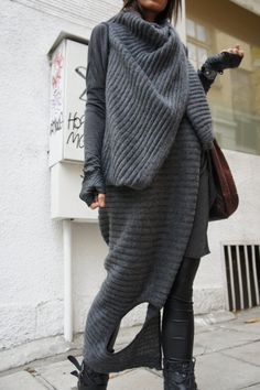 Loose Knit Top / Long Sleeveless vest / Extravagant by Aakasha, $85.00