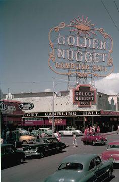 pt1 Downtown Las Vegas, July 1953. Fremont Street at 2nd – Golden Nugget, Horseshoe Club. Photo by Gene Lester. (Vintage Las Vegas)