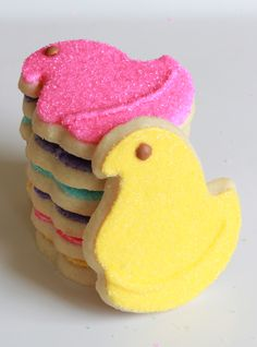 PEEPS cookies, they have the cookie cutter and all of the extras at Wal-Mart and Michael's. Wilton came out with a whole line for Easter Easter Cookies, Easter Treats, Holiday Cookies, Cupcake Cookies, Sugar Cookies, Easter Peeps, Easter Food, Hoppy Easter, Lemon Shortbread Cookies