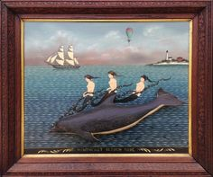 "Ralph Cahoon - Rare Ralph Cahoon 3-Dimensional Oil on Masonite ""Nantucket Sleigh Ride"" 