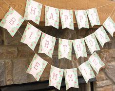 Shabby chic birthday banner