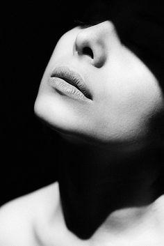 Female Portrait by Hannes Caspar {woman face b+w photography} Shadows !!