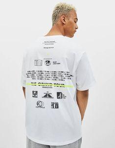 Neon slogan print T-shirt - New - Bershka United States Shirt Print Design, Tee Shirt Designs, Tee Design, T Shirt Graphic Design, T Shirt Print, Graphic Shirts, Printed Shirts, Cool Shirts, Tee Shirts