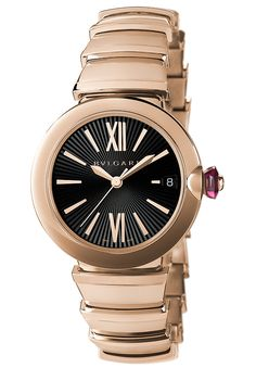 41c5aa06a2c The  bulgari Lucea features a round case and cabochon crown set with  diamonds.