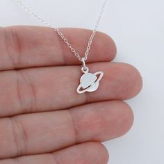 Planet Saturn Necklace - 925 Sterling Silver