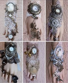 A collection of steampunk bracelets / wrist cuffs from pinkabsinth Steampunk Cosplay, Viktorianischer Steampunk, Steampunk Wedding, Steampunk Clothing, Steampunk Fashion, Steampunk Gloves, Lady Like, Steampunk Accessoires, Steam Punk Jewelry