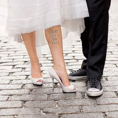 "Brides.com: . Temporary Tattoo. ""I had a bride tell me that she used our 'Okay let's do this' temporary tattoo as her 'something blue,'"" says Tattly founder Tina Roth Eisenberg.  ""Okay Let's Do This"" temporary tattoo, $5 for two, Tattly  Browse more whimsical wedding accessories."