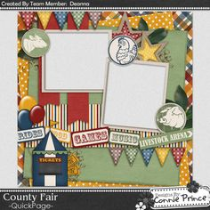 Scrapbooking TammyTags -- TT- Designer - Connie Prince, TT- Item - Quick Page, TT - Theme - Carnival or Fair, TT - Element - Animal, TT - Element - Flag, TT - Element - Balloon