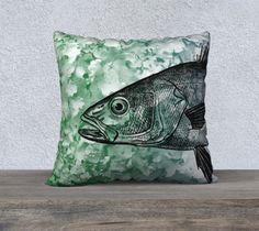 Fish Pillow Printed Cover Case Lumbar  Earthy Green Blue Black