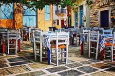 'Naxos Tables & Chairs' by OldSchoolTraveller Photographs, Tables, Chairs, Mesas, Photos, Stool, Side Chairs, Chair, Stools