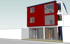 En un terreno de 200 m2 en una avenida de la ciudad de Piura estoy proyectando un edificación con 4 departamentos, 2 por piso y dos locales ...