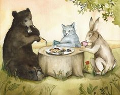 "Tea Party - ""Why did I invite him?...""  Print of my original watercolor"
