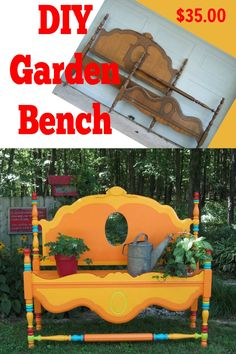From old headboard and footboard to bright and bold painted garden bench