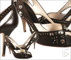 Christian Dior shoes for women, Deco Dior PeepToe, Marron