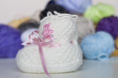 Baby Wool Boots - White with Rose  https://www.facebook.com/flocosdela