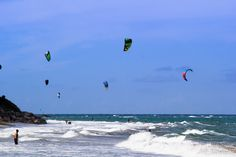Kites in the air - Kites in the air off the beach at Cabarete, Dominican Republic.