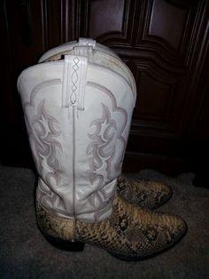 Tony-Lama-Vintage-Men-039-s-Cowboy-Boots-Snake-Skin-Leather-Boa-Python #tonylama #boots #designer