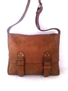 OP VERKOOP. Prachtige handgemaakte bruine leren tas, tas, crossbody…