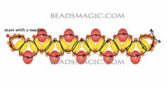 Free pattern for beaded necklace Golden Eye U need: seed beads 11/0 rondelle beads 6-8