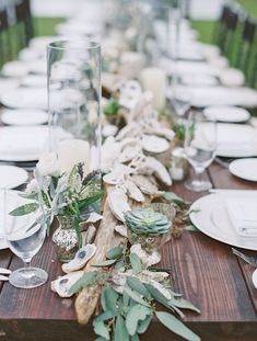Succulents, driftwood, seeded eucalyptus and a oyster garland make a perfect coastal feel. Created by Bella Flora 30a