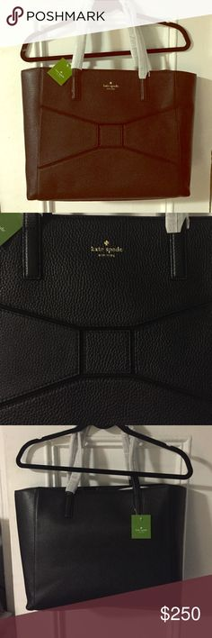NWT Kate Spade Big, Black Bag with Bow classic New with tags darling and rare! Gold grommets on the bottom. Unused. Wrapped handles! Classy and fabulous!      Tags: designer, authentic, chic, bow, minimalist, clean cut, geometric, sexy, sleek, slim, tote, laptop bag, carry on, luggage, Kate spade, preppy, country club, rare, retired, hard to find, retro, vintage, nyc, New York, college, cute, tote, bag, leather, business, formal, casual, versatile, gold, texture, NYC, la, Miami, kate spade…