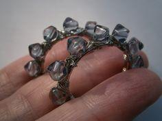 Creolen - Ohrringe rauchblau Creole mit handgemachten Perlen - ein Designerstück von kunstpause bei DaWanda